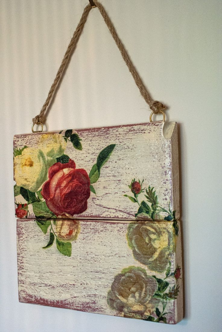 Decoupage Pallet Art Wall Hanging by CraftyHareStore on Etsy