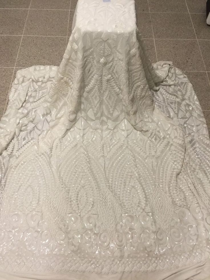"OFF WHITE STRETCH MESH W/WHITE  EMBROIDERY SEQUINS  FABRIC 50"" WiIDE 1 YARD 