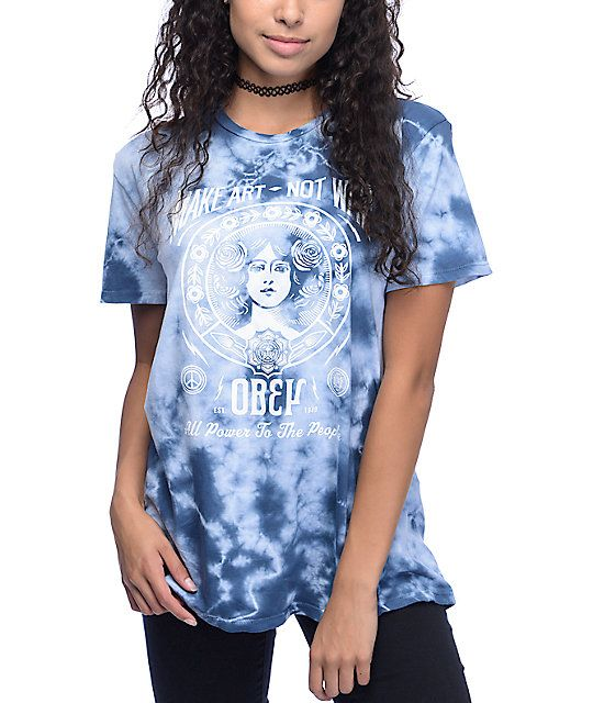 """Cut from a pure cotton material in a blue tie dye wash, this relaxed fit crew neck tee features an Obey """"Make Art Not War"""" graphic at the front for a look that inspires."""