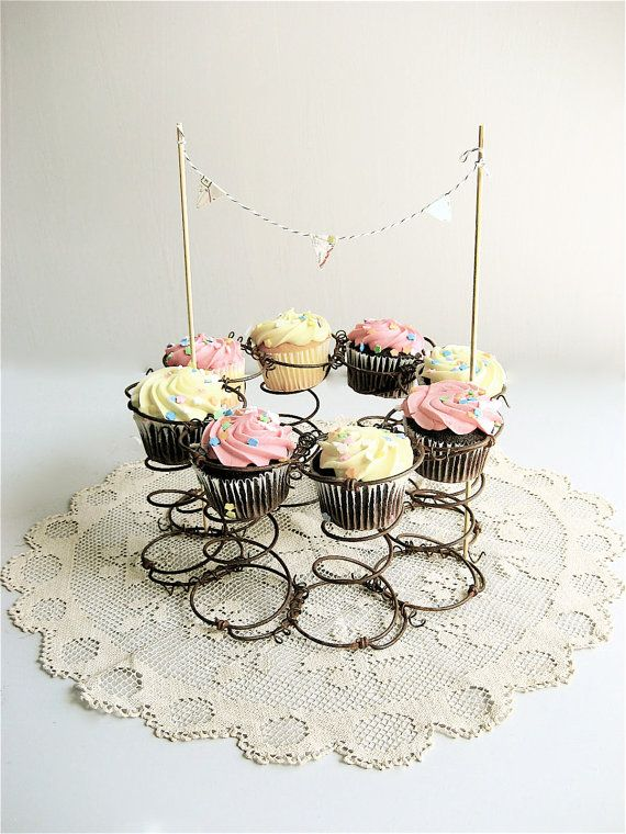 Vintage Metal Spring Repurposed Cupcake Stand by lovintagefinds, $ 39.00