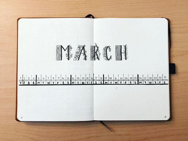 Bullet journal monthly calendar, linear calendar, patterned letters. | @dortheaanddots