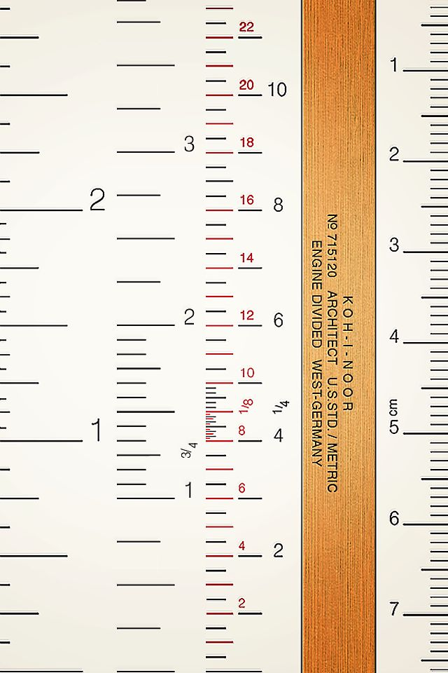 A to-scale ruler/wallpaper for iPhone 4/4S, based on 1950's Koh-i-Noor Architect's scale.