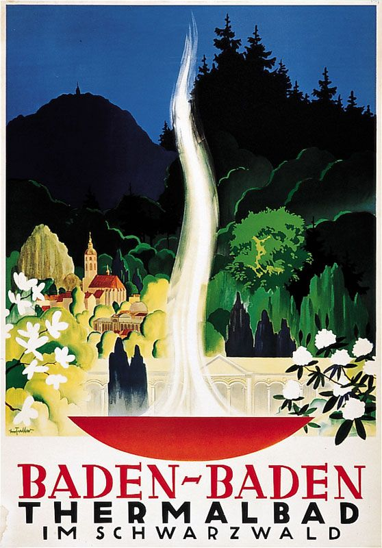 Vintage Travel Poster - Baden-Baden - Thermalbad im Schwarzwald -  Black Forest - Germany - by Leo Faller - 1937.