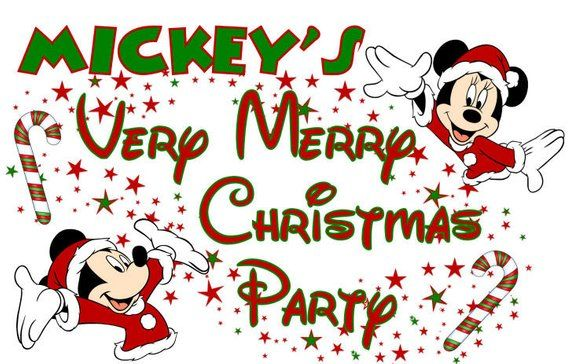 Christmas Party 2019 Clipart.Mickey And Minnie Mouse Very Merry Christmas Party Digital