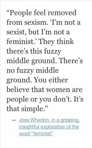 "While I generally think actions speak louder than words when it comes to labels, the running away from being called a ""feminist"" infuriates me.  Right on, Joss!"
