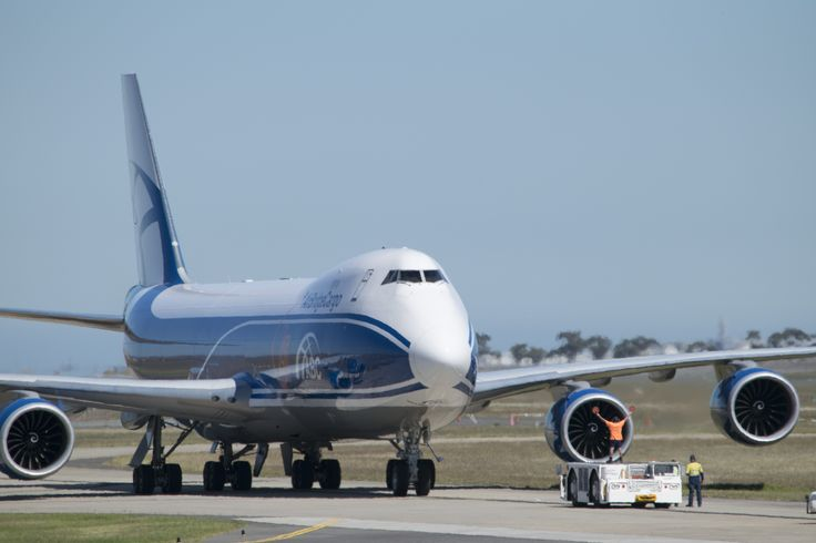 Air Bridge Cargo 747-8F arriving at Avalon Airport to take the departing Grand Prix circus home