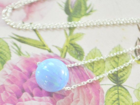 #OPAL BALL NECKLACE, Baby blue opal, #opal round necklace, petite necklace, #roll necklace, geometric opal necklace, gemstone jewelry, something blue, natural