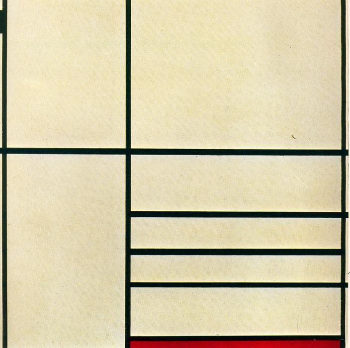 Composición con Rojo y Negro de Piet Mondrian (1936)