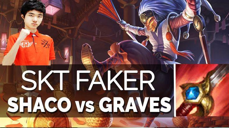 SKT T1 Faker Gameplay KR soloQ - SHACO VS GRAVES JUNGLE 6 24 Season 7   ...