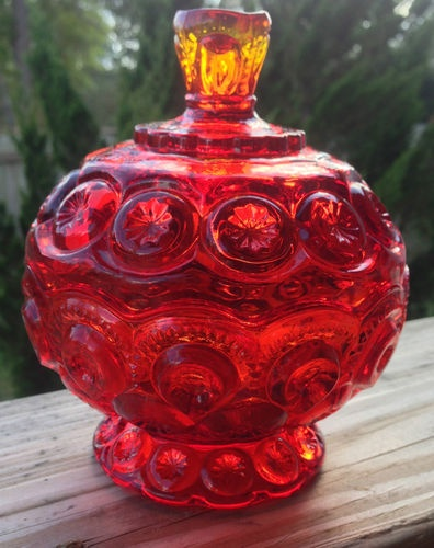 Ruby Red Amberina Covered Candy Dish L E Smith Glass Moon and Stars Pattern | eBay