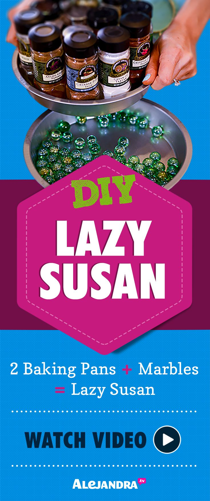 DIY Lazy Susan - Watch Video Tutorial Here:  https://www.alejandra.tv/recommends/pin-diy-organization-ideas-part-1
