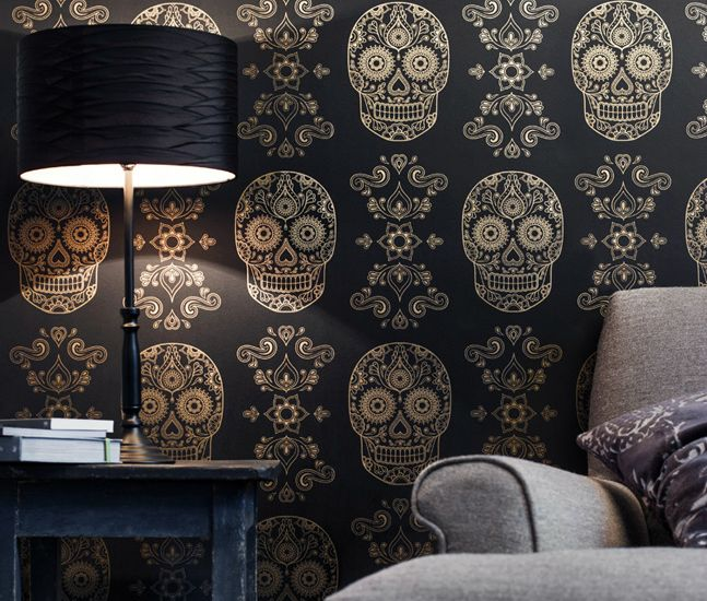 Gold Sugar Skull Wallpaper. I need this in my house.