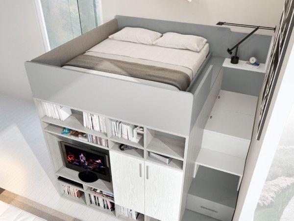Concept 710 - Ferrimobili: una soluzione compatta e ben proporzionata di soppalco. Nella zona inferiore sinistra, la struttura dispone di un ampio vano attrezzato a cabina armadio; nella parte destra, invece, di una grande libreria con vano tv che interpreta efficacemente l'area living.