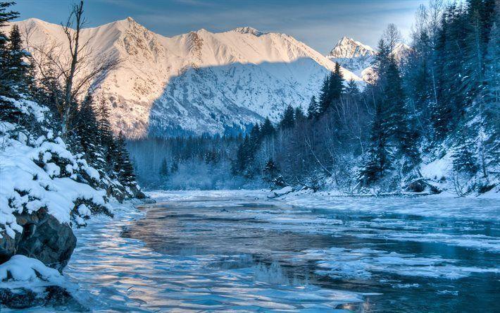 壁紙をダウンロードする 川, 冬, 山々, アラスカ, 森林, 米国
