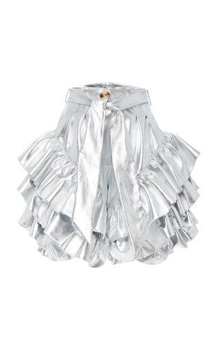 9d76afa070 Sliver Ruffled Tie-Waist Metallic Leather Shorts by Rodarte | Spring ...