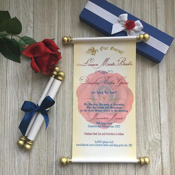 Beauty And The Beast Wedding Scroll Invitation Birthday