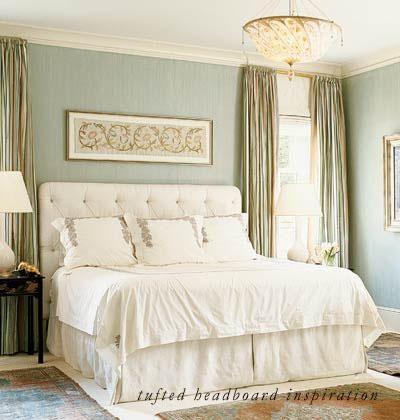 Duck-egg blue grasscloth wallpaper.  Perfect.