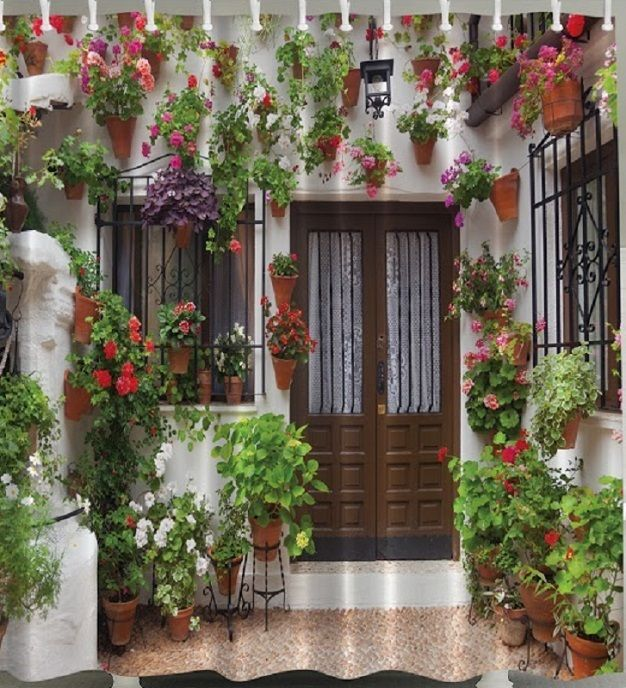 Mediterranean SHOWER CURTAIN Flowers Door Red Floral Plants Pots Hangers Wall  #Ambesonne #Modern