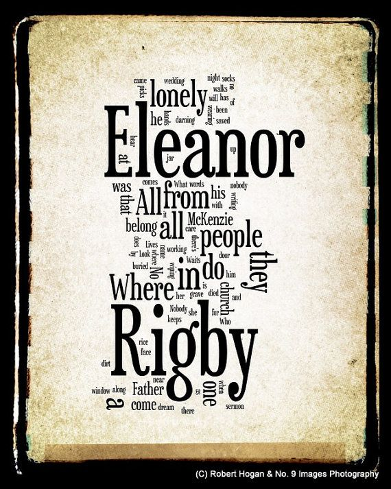 Eleanor Rigby Lyrics - The Beatles Word Art - Word Cloud Art Print 8x10 - Gift Idea