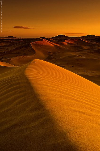 Sunset in desert, Saudi Arabia
