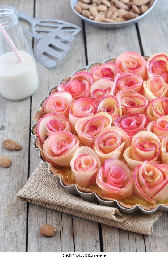 Recette de Tarte bouquet de roses pomme cannelle à la Boisson Riz Épeautre Amande