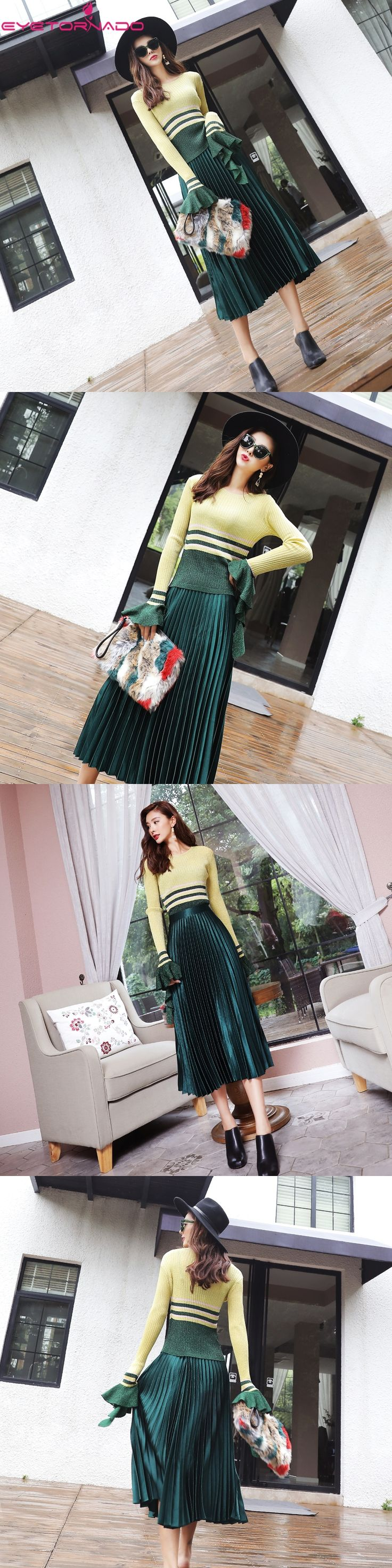 Women flare sleeve ruffleds tassel lurex knitted pillover sweater + solid pleated skirt suit office work business suit 7454