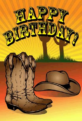 This western birthday card has a pair of cowboy boots and a hat, complete with a cactus in the background. Free to download and print