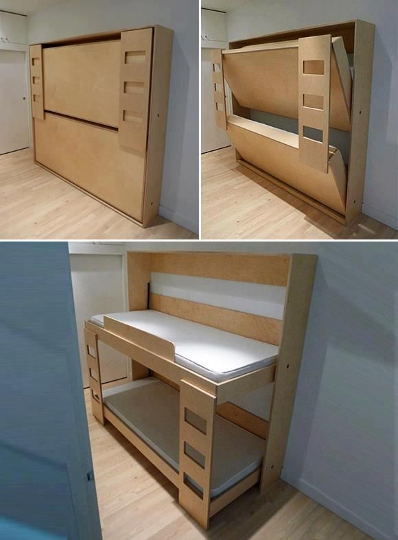 murphy bunk beds - put hand holds on the under side of the beds for a climbing wall when folded up!!