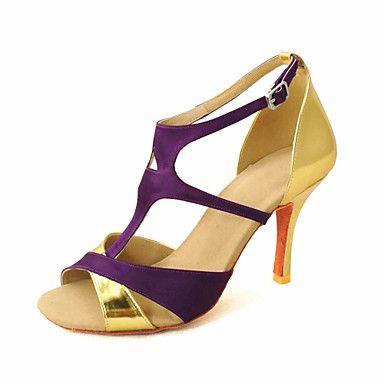Customized+Women's+Satin+T-Strap+Strap+Latin+/+Ballroom+Dance+Shoes+–+EUR+€+26.45