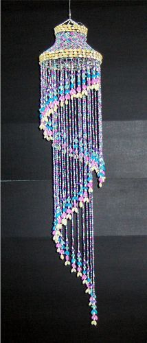 52 Multi Colored Bubble Spiral Sea Shell Chandelier Wind