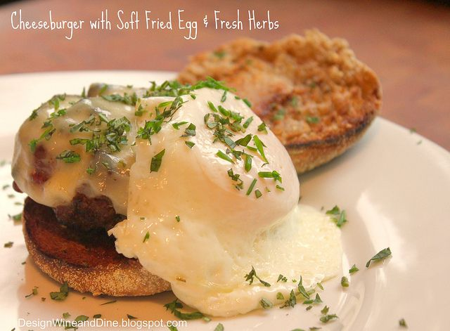 Cheese Burger with Soft Fried Egg and Fresh Herbs: Cheeseburgers