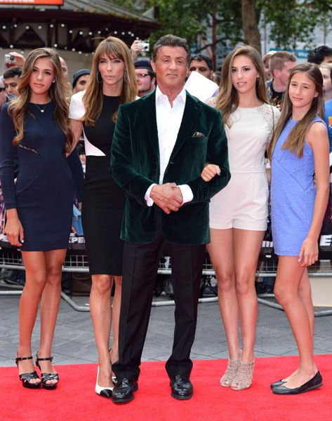 Sylvester Stallone enjoys family outing at The Expendables ...