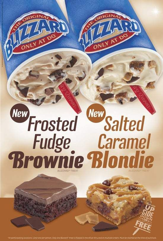 Dairy Queen Frosted Fudge Brownie and Salted Caramel Blondie Blizzards