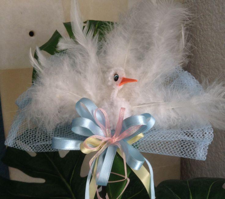 CORSAGE DE CIGÜEÑA PARA BABY SHOWER.   Decoración baby shower ...