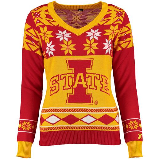 Klew Iowa State Cyclones Women's Cardinal Ugly Christmas V-Neck Sweater