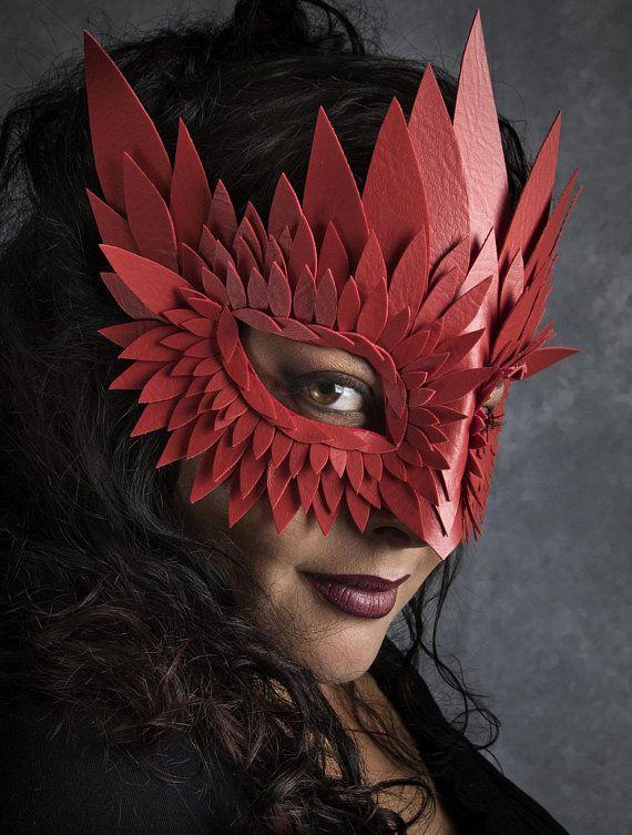 Red Venetian Leather Mask Masquerade Halloween Cosplay Costume Mardi Gras Unisex