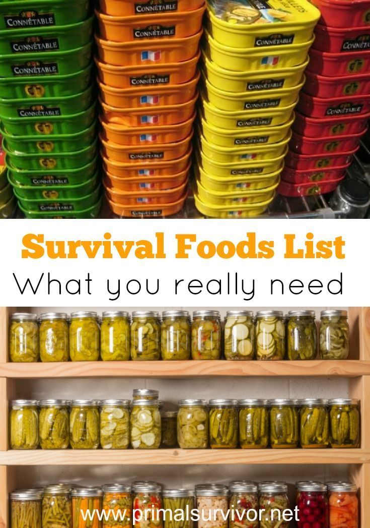 Survival Foods List: What You Need to Stockpile. In this survival foods list, I want to address the types of survival foods you should be stockpiling based on the type of disaster. We cover short term disasters, long term disasters and Bugging Out.
