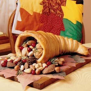 Baked Cornucopia-  We have done this project with our students for many years. Very easy if you use frozen bread dough!