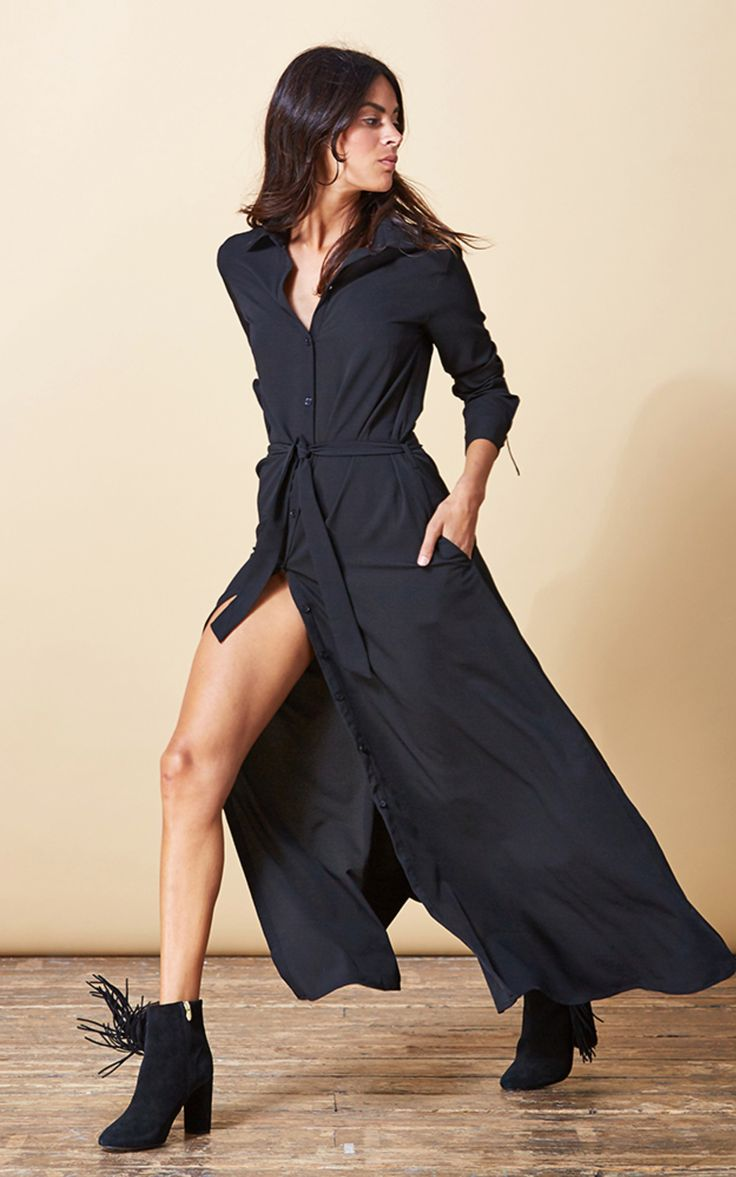Maxi Shirt Dress In Black - SilkFred