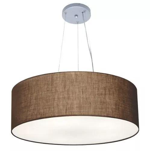 lustre pendente kroata tecido 4070 cúpula ø80x30 café 5-lamp