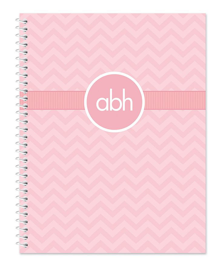 Pink Chevron Initials Notebook