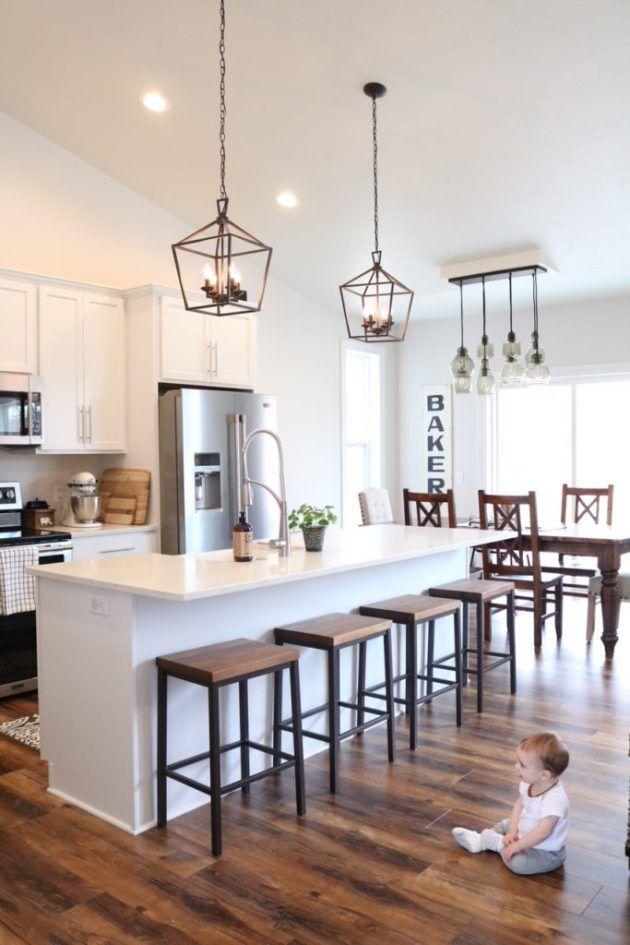 Modern Farmhouse Kitchen Reveal Sugar Maple Notes Laminate Flooring In Kitchen Open Concept Kitchen Kitchen Living