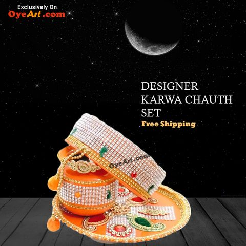 Make your Karwa Chauth more Colorful with Designer Karwa Chauth Set available on OyeArt.com. Hurry.......only few pieces Left.