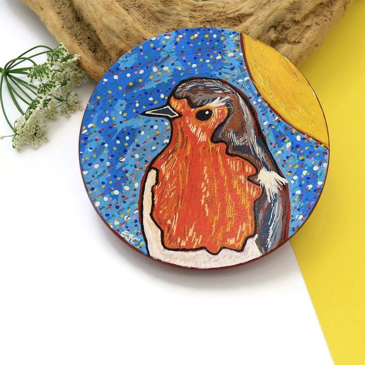 Robin Bird Wooden Plate, Decorative Plate, Hand Painted Plate, Eco Friendly, Home Decor, Decorative Art, Wooden Tray, Jewelry Dish