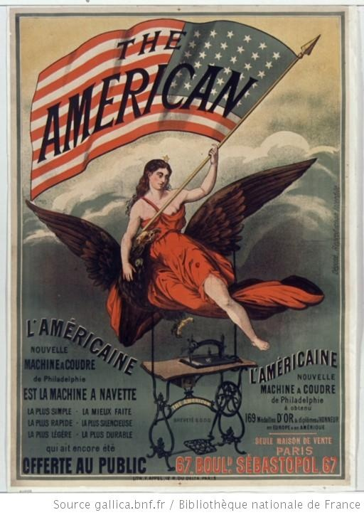 The american l 39 am ricaine nouvelle machine coudre 1876 for Machine a coudre omnia