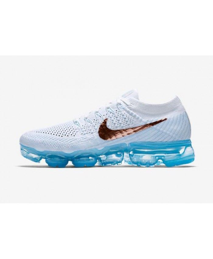 70eacefeed2e3 Nike Air VaporMax Flyknit Womens Running Shoes White Blue