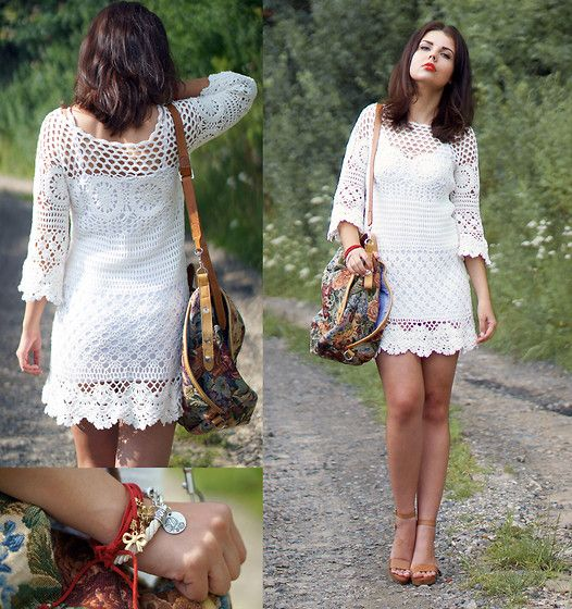 A piece of Anna . - Chic Wish Dress, No Name Bag, Laredoute.Pl Wedges - CROCHET DRESS