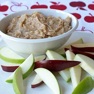 Toffee-Apple Dip | A favorite!!  Lots to dip into...apples and pretzle sticks!!