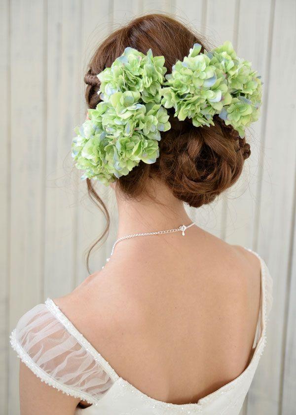 ヘッドドレス(髪飾り)【シルクフラワー】<紫陽花(あじさい)> アクエリアス