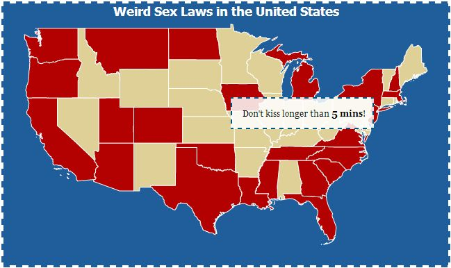 Interactive Map Weird Sex Laws In The United States Interactive - Map of the us weird locations